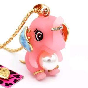 Betsey Johnson Stunning 3D Pink Resin Elephant Hot